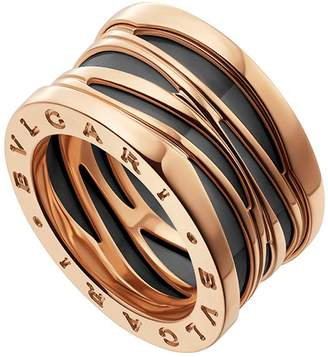Bvlgari Rose Gold and Ceramic B.zero1 Design Legend Ring