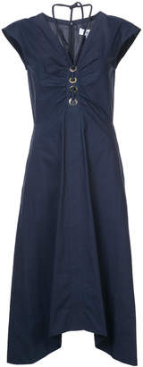Derek Lam 10 Crosby Short Sleeve Dress With Grommet And Lacing Detail