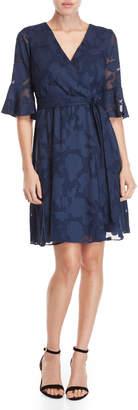 Kensie Floral Burnout Wrap Dress