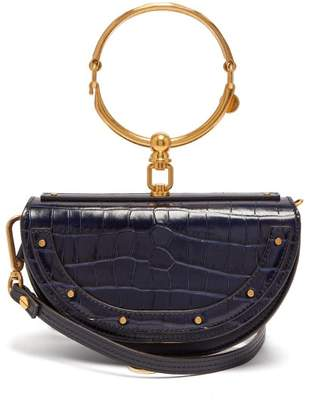 Chloé Nile Leather Minaudiere Clutch Bag - Womens - Navy