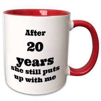 with me. 3drose 3dRose After 20 years she still puts up Two Tone Red Mug, 11-ounce