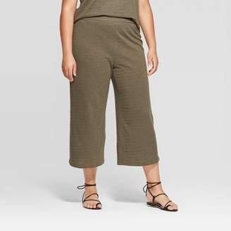 Ava & Viv Women's Plus Size Wide Leg Knit Cropped Pants