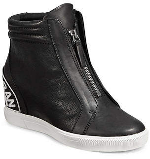 DKNY Connie Leather Wedge Sneakers