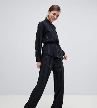 Monki satin stripe wide leg pants in black