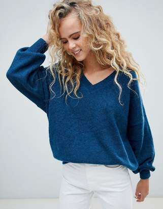 Weekday v neck oversized sweater in petrol blue