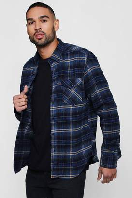 boohoo Double Pocket Check Long Sleeve Shacket