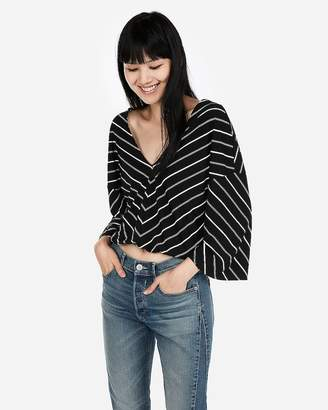 Express One Eleven Striped Flare Sleeve Tee
