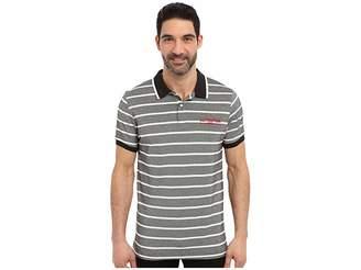 U.S. Polo Assn. Embellished Pencil Stripe Polo Shirt Men's Short Sleeve Knit