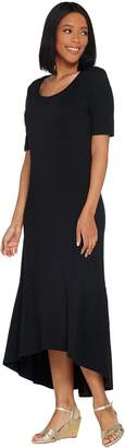Isaac Mizrahi Live! Petite Elbow Sleeve Knit Maxi Dress