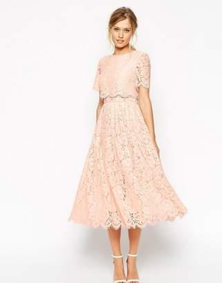 ASOS Lace Crop Top Midi Prom Dress $122 thestylecure.com