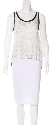 Enza Costa Leather-Trimmed Sleeveless Top
