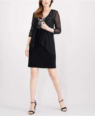 Connected Petite Embroidered Sheath Dress & Sheer Jacket