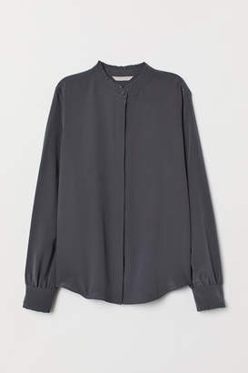 H&M Stand-up Collar Silk Blouse - Gray