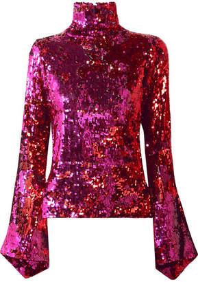 Halpern - Sequined Tulle Turtleneck Top - Pink