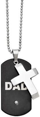 FINE JEWELRY Mens Cubic Zirconia Stainless Steel Black Ion-Plated Dad Cross Dog Tag Pendant