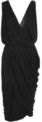 Michael Kors Wrap-effect Leather-trimmed Stretch-crepe Dress