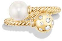 David Yurman Solari 18K Bypass Ring with Pearl & Diamonds, Size 7