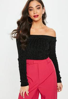Missguided Black Bardot Ribbed Chenille Sweater