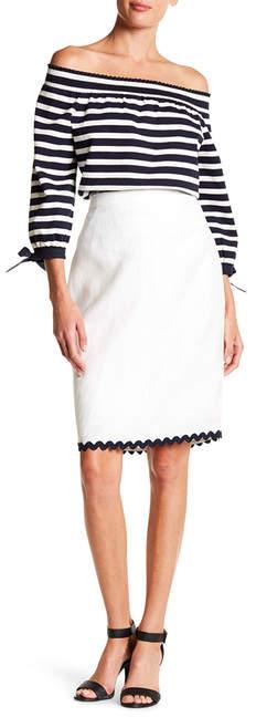 J. Crew Scalloped Linen Pencil Skirt