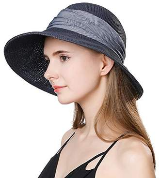 Cloche Jeff & Aimy Womens Summer Straw Beach Sun Hat UPF 50 Wide Brim with Chin Strap Panama Fedora Fashion Travel Hat Navy Blue