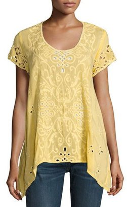Johnny Was Wicktoria Georgette Eyelet Top, Soft Citron, Plus Size $265 thestylecure.com