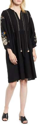 Velvet by Graham & Spencer Embroidered Peasant Dress