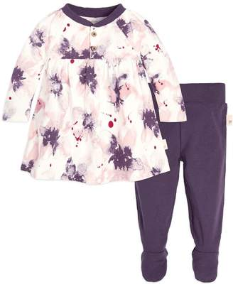 Burt's Bees Exploded Petals Organic Baby Cotton Dress & Footed Pant Set