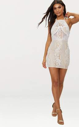 PrettyLittleThing White Lace Halterneck Cup Detail Bodycon Dress