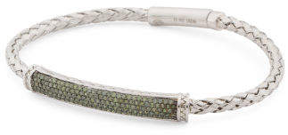 Sterling Silver And Green Diamond Bracelet
