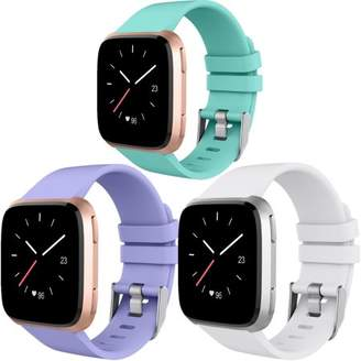 Fitbit Moretek For Versa Watch Band, Soft Silicone Replacement Wrist Strap Bands for Versa (White+Cyan+Light Purple)