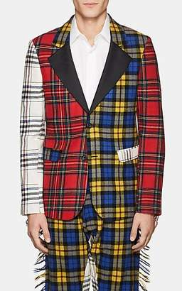 Moschino MEN'S FRINGED PLAID WOOL FLANNEL SPORTCOAT SIZE 48 EU