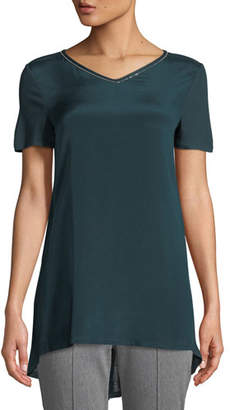 St. John Sleek Short-Sleeve Jersey T-Shirt w/ Swarovski Crystal Trim