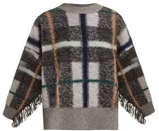 Stella McCartney Tassel Trim Checked Wool Blend Sweater - Womens - Grey Multi