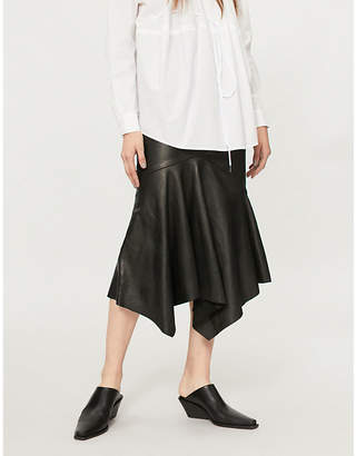 Chalayan Fishtail-hem leather midi skirt