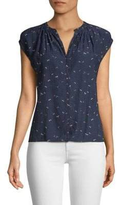 Joie Matinaly Dragon Fly Print Cap-Sleeve Blouse