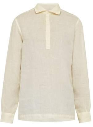 Altea Tyler Slubbed Linen Poplin Shirt - Mens - Yellow