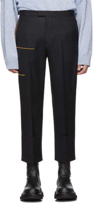Raf Simons Black Wool Turn-Up Trousers