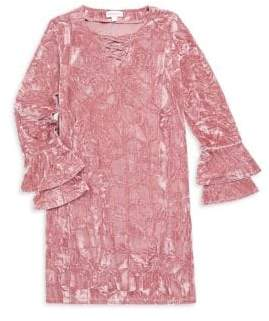 Design History Girl's Ruffle Sleeve Crushed Velour Dress