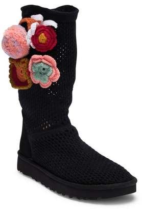 UGG Classic Floral Crochet Genuine Shearling Boot