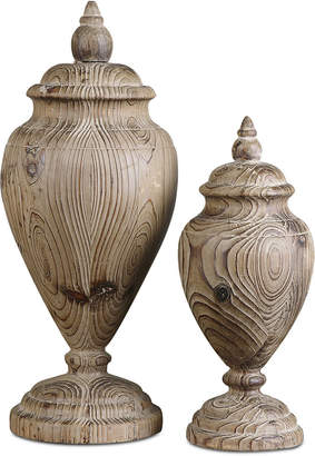 Uttermost Brisco Carved Wood Finials, Set of 2