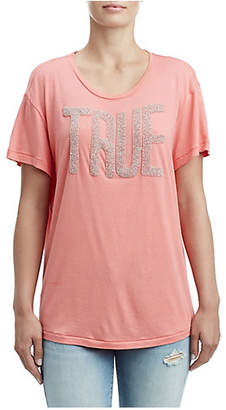 True Religion WOMENS BEADED LOGO TEE