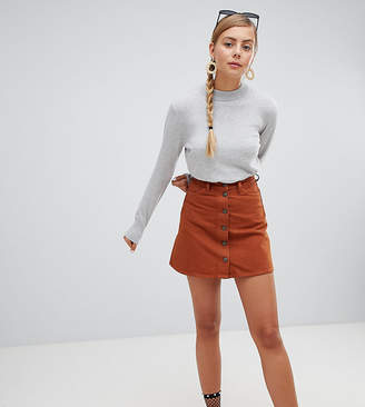 Monki denim mini skirt with organic cotton in brown