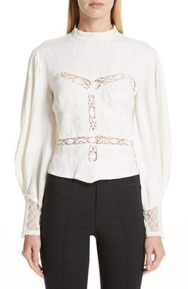 Isabel Marant Lyneth Lace Inset Linen Blouse