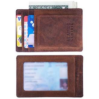 Leather Centric Slim RFID Blocking Minimalist Front Pocket Wallet for Men with Magnetic Money Clip ()