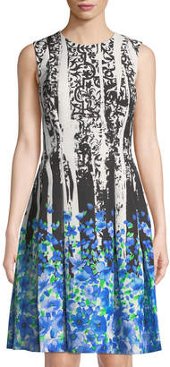 Carmen Marc Valvo Floral Faille Fit-&-Flare Party Dress