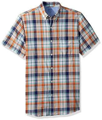 Izod Men's Saltwater Dockside Chambray Plaid Short Sleeve Shirt