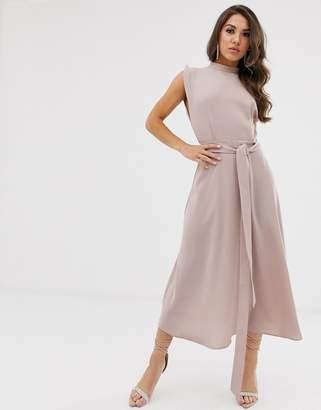 Asos Design DESIGN split cap sleeve high neck midi dress with skater skirt