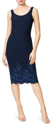Betsey Johnson Embroidered Scuba Crepe Midi Dress