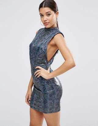 Asos DESIGN Sequin Animal Low Armhole Mini Dress