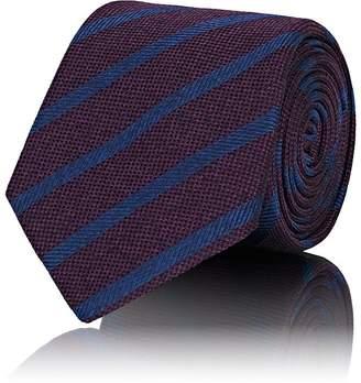 Barneys New York Men's Striped Waffle-Textured Silk Necktie
